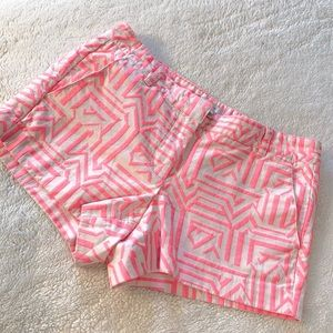 J. CREW PATTERNED PINK AND WHITE SHORTS